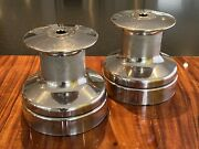 Pair Of Barient Model 28 Size 38 2-speed Plain Top Stainless Winches