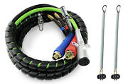 3 In 1 15ft Abs And Air Line Hose Wrap 7 Way Cable W/ Handle 2x 25 Tender Spring