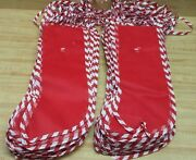 Wholesale Lot Of 100 Red And White Stripe Mesh Net 18 Plastic Christmas Stockings