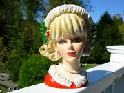 Vtg Christmas Lady Headvase Napcoware X7639 Holly And Berries Open Eyes 7 1/2