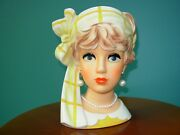 Vtg Lady Headvase Relpo K1941 Frosted Blonde Gold White Outfit Scarf Bow 7 1/4