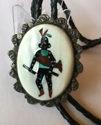Leo Poblano Zuni Inlay Bolo Sterling Turquoise Jet Mop And Spiny Oyster