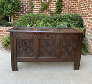 Antique English Blanket Box Chest Trunk Coffer Storage Chest Carved Oak 18th C