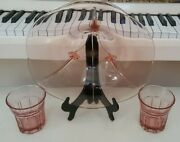 12 Inch Fostoria American Pink Depression 3 Footed Bowl And 2 Tumblers