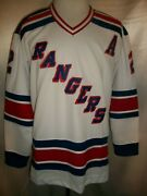 Brian Leetch New York Rangers White And Blue 1978-1990 Throwback Ccm Nhl Jersey