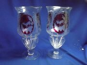 """Pr.antique Bohemain Moser Ruby Etched To Clear Art Glass Loobed Footed 9""""vases"""