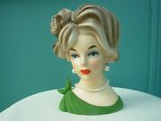 Vintage Lady Headvase C7294 Napcoware Green Top Bow Frosted Bouffant Hair 7 1/2