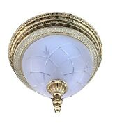 """French Egg And Dart Frosted Cut Glass Bronze Brass Chandelier Flush Mount 14"""""""