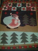 Holiday Christmas Primitive Santa Claus Quilt Throw Blanket Size Trees Snow Guc