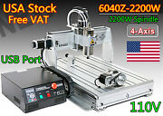 「usa」 4 Axis 6040z-2200w 2.2kw Er20 Cnc Router Mill Drill Engraving Machine 110v