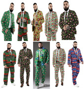 Men Adult Christmas Party Suit Costumes Suit Funny Bachelor Jacket With Tie Xmas