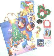 Disney Mickey Mouse Winnie Pooh Christmas Lot Ornaments Gift Bags Window Cling