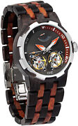 Mens Wooden Watch Dual Wheels Automatic Movement Transparent Dial Ebony Red Wood