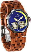 Mens Wooden Watch Dual Wheels Automatic Movement Transparent Dial Kosso Wood