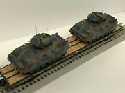 Mth Premier 60' Flat Car With 2 Army Bradley Fighting Vehicles Chained O Scale