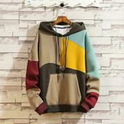 Retro Mens Hip Hop Mixed Color Casual Autumn Hoodie Long Sleeve Loose Sweaters B