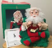 Vintage Santaand039s Best Animated Motionette Sitting In Arm Chair W/list And Pipe