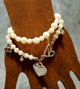 Pair Of Vintage Costume Jewelry Faux Pearl Bracelets 1 Heart And The Letters Mom
