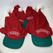Lot Of 4 Baileys Santaandrsquos Elves Hats Red White Green Pom Pom Christmas Holiday