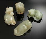 Lot Antique Chinese Carving Natural Jade Qing Dynasty