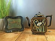 Superb Aesthetic Movement Jackfield Burgess And Leigh Daisy Square Kettle Teapot