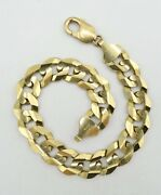14k Yellow Gold Curb Link Chain Bracelet Italian Made 9 12mm 39.6g S1025