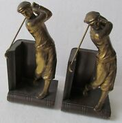 Vintage Golf Bookends-bronzed-made By Jennings Bros Mfg Co Circa 1920-1930and039s