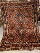 6x8 Ft Auth Very Rare Finest 100 Marino Wool Antique Kashghai Tribal Rug Rugs