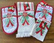 Set Of Vintage Franco Christmas Theme Kitchen Towels And Potholders Nwt Red White