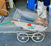 Antique Doll Carriage For Parts Or Repair Wheels Fenders Hub Caps Very Rare 1950