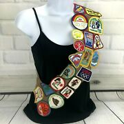 Girl Scout Brownie Sash Vintage 80s Patches Troop 557 Tres Condados California