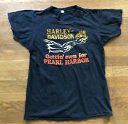 Vintage 70and039s Harley Davidson Gettin Even For Pearl Harbor T Shirt - Size Medium