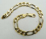 18k Y And W Two Tone Gold Figaro Link Chan Bracelet Dia Cut 8 7.3mm 21.9g S1076