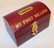 Vtg Bank Tooled Burgundy Leather My First Million Treasure Chest Trunk Box