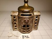 B-92 Antique Cast Iron Dome Top Building Bank As Found Good Condition