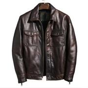 Vintage Style Mens Real Cow Leather Distressed Motorcycle Jackets Biker Lapel L