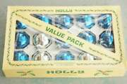 Vintage Box Of Blue And Silver Mercury Glass Christmas Ornaments