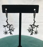 18k Black Gold And Diamond Spider And Spider Web Earrings Rare Ooak