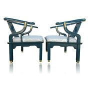 Rare Pair Teal Century Furniture Asian Ming Chinoiserie Accent Club Arm Chairs