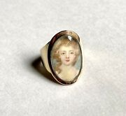 Antique Georgian Miniature Portrait Ring Of Young Woman, Likely 18th C English