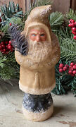 Vintage Style Holiday Chalkware Icy Gold German Belsnickle Santa, Feather Tree