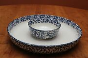 Tienshan Cabin In The Snow Two-piece Chip And Dip Set Blue Spongeware Pattern Guc