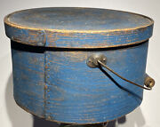 Early 1800andrsquos Antique Exceptional Blue Pantry Box 11andrdquo Original Paint W/ Handle