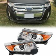 Chrome For 2011-2014 Ford Edge Chrome Halogen Drl Projector Headlights Headlamps