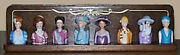 Discontinued Avon Victorian Lady Thimble Complete Set With Mahogany Rack New