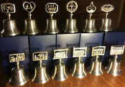 Crown And Rose Complete Set Of 12 Days Of Christmas Pewter Bells In Original Boxes