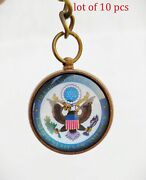 Vintage Antique Brass United States Of America Key Chain Key Ring Gift