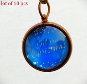 Vintage Antique Brass Merry Christmas Key Chain Gift