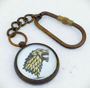 Vintage Brass Game Of Winter Is Here Stark Key Chain Gift