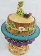 Peggy Fairfax Herrick House Of Hatten Covered Plate Stand Frog Topper Rare Odd